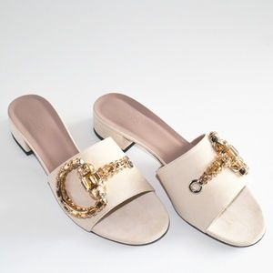 NEW GUCCI SCAMOSCIATO PEACH SUEDE & CRYSTAL SLIDES
